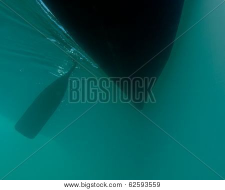Dark Paddle Canoe Hull Silhouette Floating