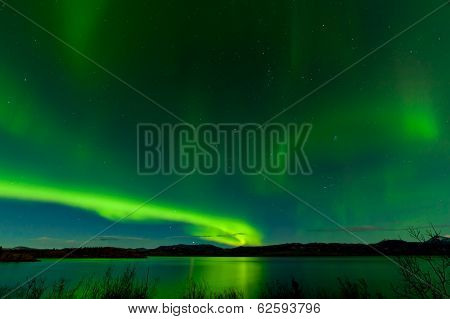 Aurora Borealis Show Lake Laberge Surface Mirrored