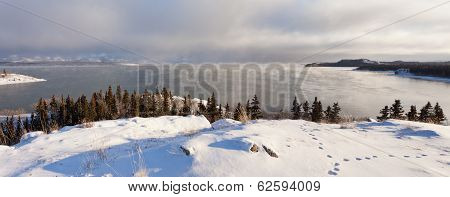 Steaming Lake Laberge Yukon Pano Before Freezing