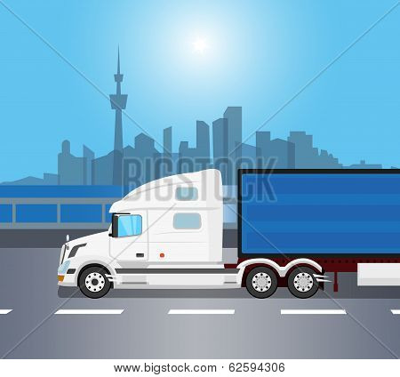 White american truck isolated