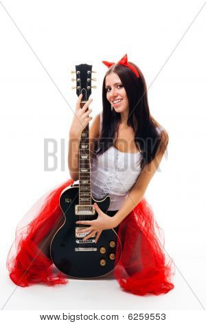 Sexy Girl With Black Guitar And Horns