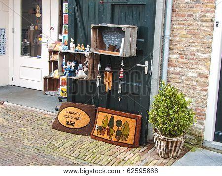 Showcase Souvenir Shop In The Dutch Town Of Heusden