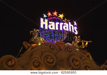 Harrah's Hotel And Casino Sign  In Las Vegas