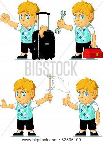 Blonde Rich Boy Customizable Mascot 8