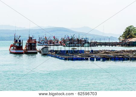 Nice Fishing Boat And Cage Aquaculture Farming.