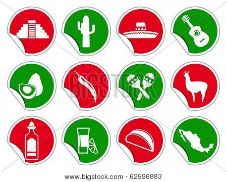 Mexican icon set on stickers