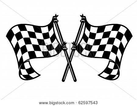 Motor sports flags curling in the breeze