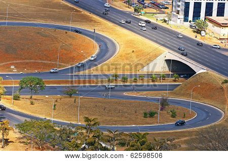 Road Infrastructure In Brasilia, The Capital Of Brazil.