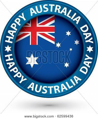 Happy Australia Day Blue Label, Vector Illustration