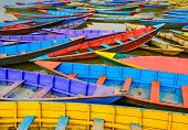 Detail Of Old Colorful Sail Boats In The Lake