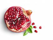 picture of pomegranate  - Juicy pomegranate fruit isolated on white background - JPG