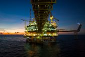 foto of offshoring  - Oil and gas platform in the gulf or the sea - JPG