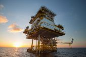 stock photo of  rig  - Oil and gas platform in the gulf or the sea - JPG