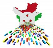 stock photo of burundi  - Burundi map flag with containers illustration - JPG