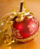 Red Ornament and ribbon
