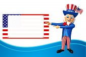 picture of uncle  - 3d rendered illustration of uncle sam with sign - JPG