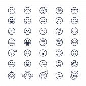 image of eye-wink  - large set of vector icons of smiley faces on white background - JPG