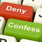 stock photo of take responsibility  - Confess Deny Keys Showing Confessing Or Denying Guilt Innocence - JPG