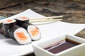 pic of chopsticks  - Makisushi on white plate - JPG