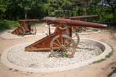 Old cannons on wheels Russian-Japanese war of 1904-1905 in Lushun (Russian name of Port Arthur). Eas