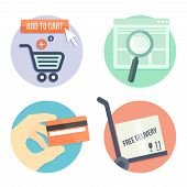 stock photo of payment methods  - online shopping flat design icons for online shop - JPG