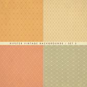 pic of rhombus  - Set of hipster vintage retro backgrounds with repeating geometric tiles of rhombuses and rectangles - JPG