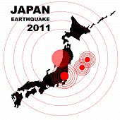Earthquake and tsunami on Japan island