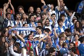 BARCELONA - NOV, 30: Real sociedad supporters celebrating goal during a Spanish league match against
