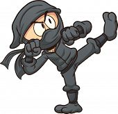 stock photo of ninja  - Cartoon ninja kicking - JPG