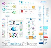 foto of graph paper  - Timeline Infographic design template with paper tags - JPG