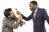 pic of snob  - business executive being bossy to a blue collar worker - JPG