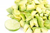 stock photo of avow  - Cutted avocado close up  on white plate - JPG