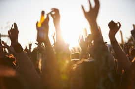image of waving hands  - Crowds Enjoying Themselves At Outdoor Music Festival - JPG