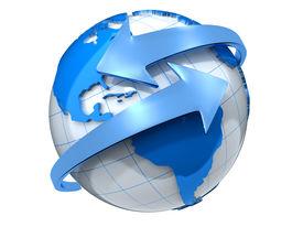stock photo of world-globe  - Two arrows surrounding Earth globe  - JPG