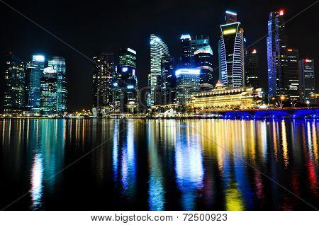 Modern Singapore Skyline by Night