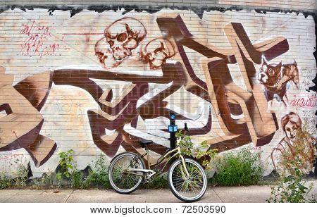 Street art Montreal skull