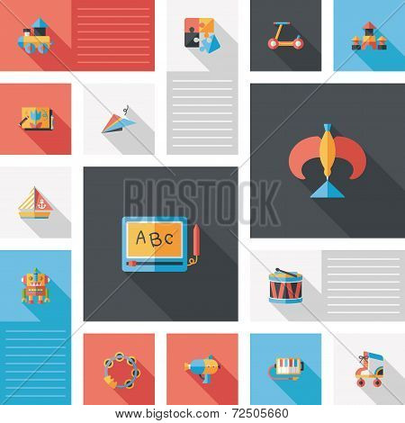 Kid Toys Flat Ui Background