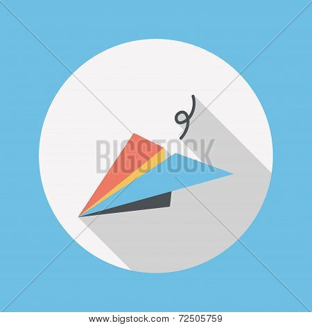 Paper Airplane Flat Icon With Long Shadow