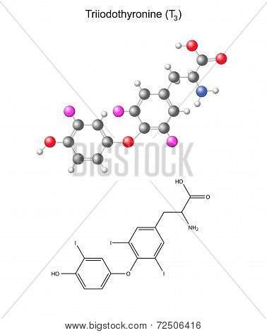 Structural Chemical Formula And Model Of Triiodothyronine - Thyroid Hormone