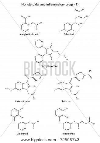 Structural Chemical Formulas Of Group Antiinflammatory Drugs