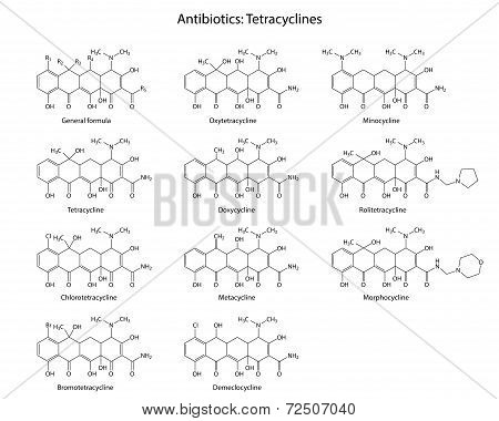 Structural Chemical Formulas Of Antibiotics Tetracyclines