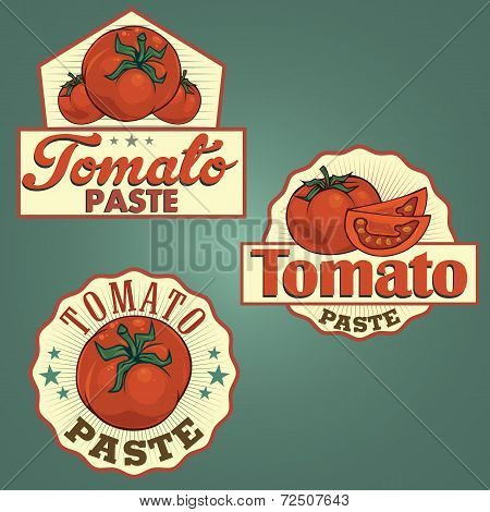 Tomato paste labels set