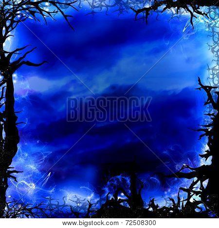Dark Blue Forest Square Background Frame
