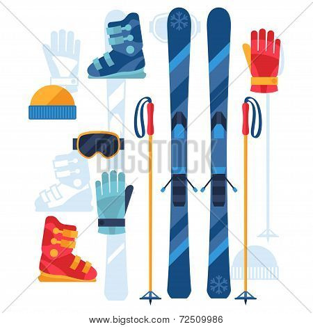 Skiing equipment icons set in flat design style.