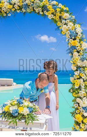 Wedding Ceremony At The Tropical Coast Line