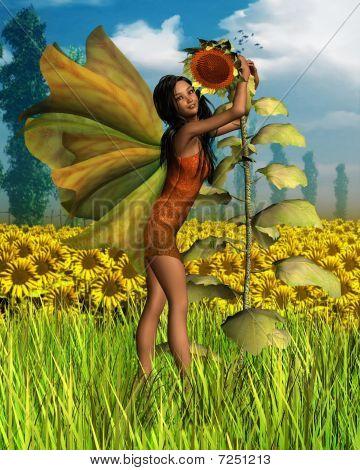 Dark Sunflower Fairy with Summer background
