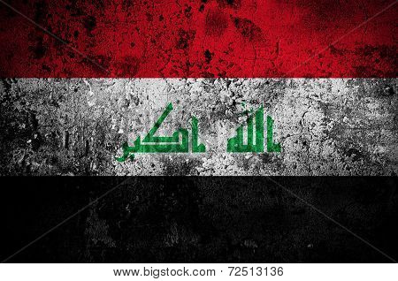 Grunge Flag Of Iraq With Capital In Baghdad