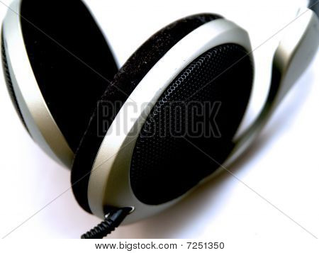 Headphones Over White Background