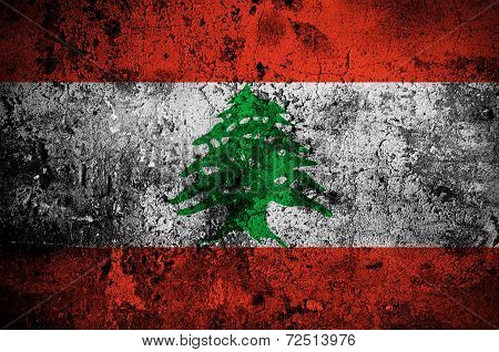 Grunge Flag Of Lebanon With Capital In Beirut
