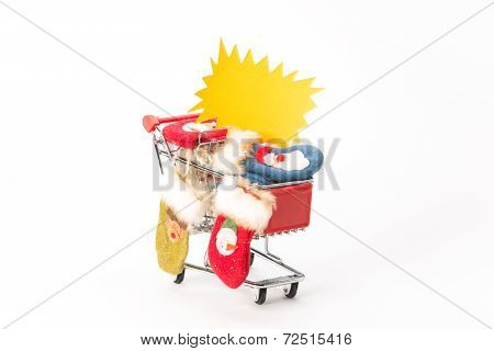 Caddy For Shopping With Christmas Socks